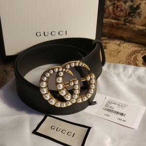 Brand New Gucci Pearl Brass-Womans Belt